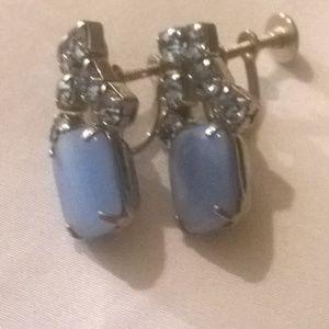 Vintage blue screw back earrings